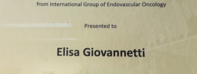 Dr. Giovannetti received the Award of Excellence from the International Group pf Endovascular Oncology
